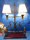 VERY UNIQUE DOUBLE ARM METAL TABLE LAMP  W 15 3/4