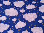 Puffy Clouds and Stars on Royal Blue Sky BTY From MBT