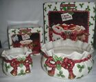 Fitz and Floyd Deck the Halls Christmas Set Candle Bowl and Potpourri Bowl IOB