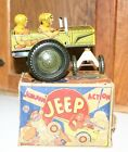 VINTAGE LOUIS MARX  TOY  JUMPIN JEEP  LITHO TIN WIND UP WITH ORGINAL BOX