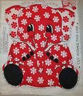 Vtg 70s Red & White Elephant w/ Daisies Fabric Panel 17