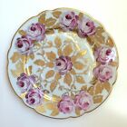 Lot of 5 Vintage Porcelain Plates KPM Germany Handpainted Roses and Gold Leaves