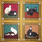 WARREN KIMBLE COUNTRY CATS 5 3 4 QUILT BLOCKS SQUARES COTTON FABRIC PANEL