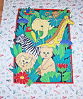 JUNGLE ANIMALS QUILT FABRIC PANEL ELEPHANT ZEBRA GIRAFFE MONKEY LION