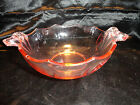 Bowl VTG Peach Tinged Depression Glass Pointed Scallop Rim Bow Shape Handles