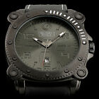 Military Royale Swiss Engraved Cube Dial Mens Leather Auto Date Army Sport Watch