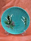 Antique German Villeroy & Boch Platter Majolica Palm Leaf & Lily of Valley Teal