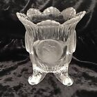 EAPG Early American Pattern Silver Dollar Frosted Coin Glass Spooner Vase