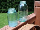 Two (2) Vintage Atlas Canning Jars Green~Aqua~Blue Glass QUART and 1/2 GALLON