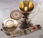 ANTIQUE MUSEUM 19th CENTURY CATHOLIC CHURCH CHALICE SET VERMEIL STERLING SILVER