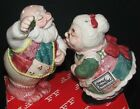 FITZ & FLOYD Christmas Quilt Mr & Mrs Santa Mistletoe SALT & PEPPER SHAKERS BOX