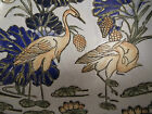 Vtg Asian Hand Painted Chinese Bowl Macau Cranes CPC Ceramic Pottery Glazed