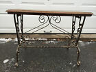 Vintage Mid Century Modern Coffee Table, Bench Cast Wrought  IRON BASE Oak Top
