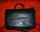 KENNENTH COLE Black Tooled Leather Cross Body Bag