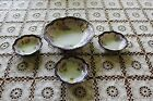 Vintage Nippon Berry Bowl Set - Hand Painted - Blue Edge, Flowers & Gold
