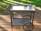 Antique Victorian tea cart with wooden wheels, Removable glass serving tray