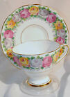 VTG BONE CHINA GLADSTONE ENGLAND ROSEMARY TEA SET CUP SAUCER ROSES GOLD TRIM