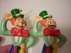 Vintage Set 2 Christmas Tree Ornament Clown (Green) - Early Plastic Hand Painted