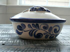 Covered Dish with Fish Lid German Pottery Cobalt Blue Salt Glazed Trier Region