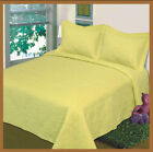 3 pc bedspread quilt  Solid Yellow queen/king size bed cover New Beddding