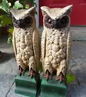 RARE PAINTED CAST IRON OWL on PEDESTAL DOORSTOPS ANDIRONS BRADLEY