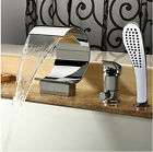 Chrome Waterfall Bathroom Bath tub Faucet Mixer Tap Set W/Valve+Hand Shower
