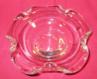 Vintage HEAVY Murano Clear Glass Rolled Edge Candy Dish Ashtray Art Glass