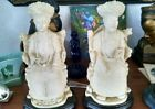 A pair of ancient Carved Chinese Emperor and Emperess statues.