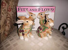 Fitz And Floyd Bunny Salt & Pepper Shakers Blackberry Rabbit New with Orig Box