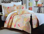 CYNTHIA ROWLEY SWIRL PAISLEY QUEEN / FULL QUILT 3PC SET ORANGE YELLOW CORAL PINK