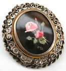 Vintage 800 Silver Filigree ROSE PAINTING Pendant Brooch/Pin Hand Painted ITALY