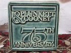 1988 Pewabic Pottery Detroit Mich Plunkett & Cooney 75th Anniversary Tile Green