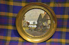 Vintage SOLID BRASS WALL Plate w/Foil Picture Print MADE IN ENGLAN