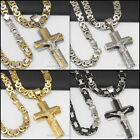 P4 24men stainless steel Gold Silver Black jesus cross pendant chain necklace