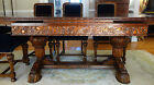 Antique English Elizabethan Carved Oak Extension Dining Table 8 Matching Chairs