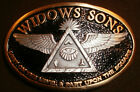 widows sons, 2-tone 24kt gold finish freemasons, masonic biker stick-on
