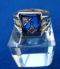 Vintage Masonic Symbol Hand Etched Sapphire YELLOW GOLD 10k Men Ring MONARCH 12