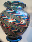 ORIENT AND FLUME BLUE IRIDESCENT SWIRL VASE BEYERS & BRALEY ARTISTS CHICO CALIF