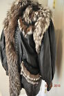 Vtg INSANELY AWESOME OOAK Leather & FOX FUR Coat Curly lamb Trim L/XL apres ski