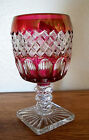 heavy Vintage Red cut glass water/wine goblet 6 3/4