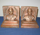 BOOKENDS COPPER BRONZE CLAD DANTE PELI SIGNED 1913 NEAR PERFECT CONDITION