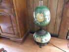 ANTIQUE HAND PAINTED GONE WITH THE WIND LAMP Glass Green with Yellow Roses