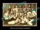 OLD LARGE HISTORIC PHOTO OF THE UNIVERSITY OF MICHIGAN FOOTBALL TEAM c1888