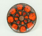 vintage ruscha 1960's 70's WALL PLATE bowl fat lava circles orange and red