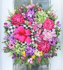 XXL33~FRENCH COUNTRY WREATH~MACKENZIE-CHILDS RIBBON~SPRING SUMMER EASTER DOOR