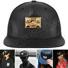 New Gold Collier Faux Leather Snapback Hat Black Metal Pyramid Stud Hardware
