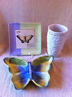3 Decorative Ceramic Items -Butterfly 1 Serving Dish/1 Serving Plate/1 Vase