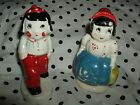 VINTAGE BOY AND GIRL SALT AND PEPPER SHAKERS MADE IN JAPAN HAND PAINTED