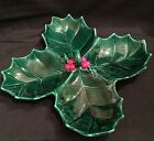 RARE! Vintage Lefton Christmas Holly Leaf 4 Leaf Divided Relish Candy Nut Dish