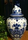 Vintage Delft Blue Ginger Jar Holland signed handpainted numbered pottery. urn
